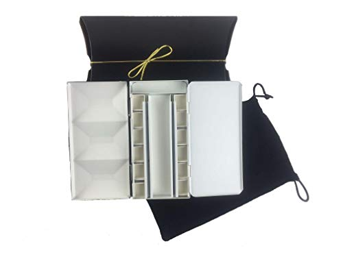 Whiskey painters Artist Watercolor Half Pan Paint Travel Metal Palette Box. Professional Artist Quality Artist Box, Built in Palette, with Artist Travel Brush & Double Palette Cup Made in Italy
