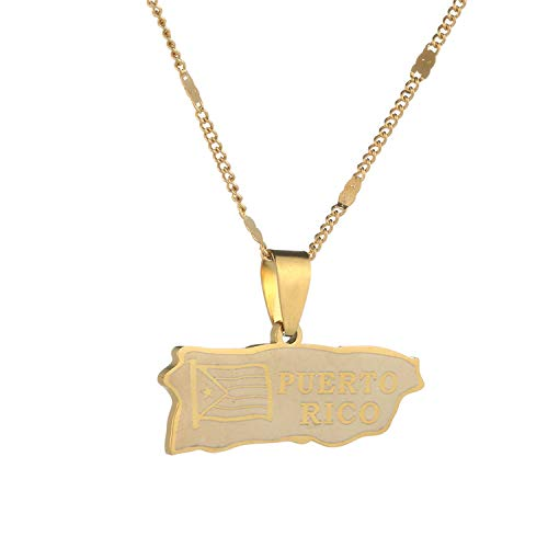 Stainless Steel Puerto Rico Map Pendant Necklaces Trendy Map Jewelry Puerto Ricans Map Charm Jewelry-Gold-Color-