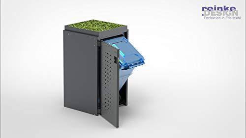reinkedesign Mülltonnenbox Boxxi mit Pultdach aus Aluminium in Anthrazit RAL 7016 als Bausatz (1 x 120l, Pflanzwanne)