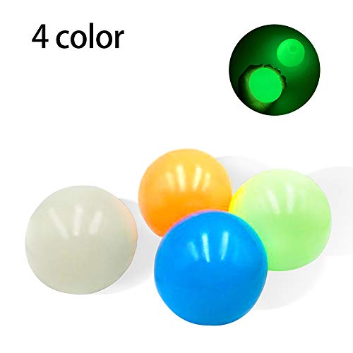 Sticky Ball, Luminous Stress Reliever Wall Balls, Luminous Anti Stress Reliever Balls, Globbles Sticky Balls, Sticky Ball Game Catch Ball for Children Parents Stress Relief Toys (4pcs)
