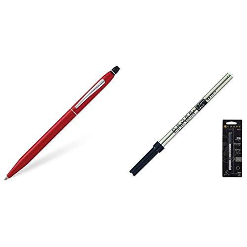 Cross Click - Bolígrafo, color rojo metálico + 8910-1, Recambio de Gel de Línea Fina para la Colección Spire, Click & Classic Century, 0.7 mm, Negro, 1 Artículo