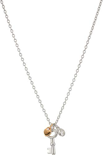 Fossil Women's Vintage Key Sterling Silver Pendant Necklace, Silver Tone, 18' + 1' + 1'