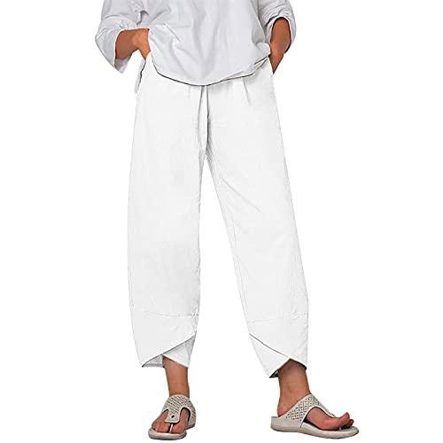 2021 Pantalon en Lin Femme Ample Pantalon de Jogging été Grandes Taille Sarouel Été Décontracté Respirant Femmes Fluide Pantalons de Plage Léger Sport Pants avec Poche