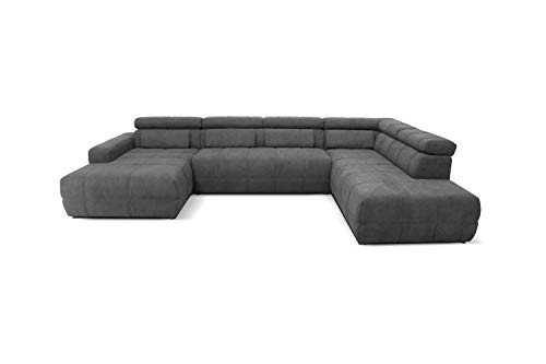 DOMO Collection Brandon Sofa | Wohnlandschaft mit Rückenfunktion in U-Form | Polsterecke Eckgarnitur | 175 x 359 x 228 cm Polstergarnitur in grau
