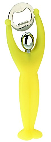 BUGATTI 32-7089C6U Gym - Apribottiglie in ABS e Acciaio, 6,5x3x18cm, Colore: Giallo