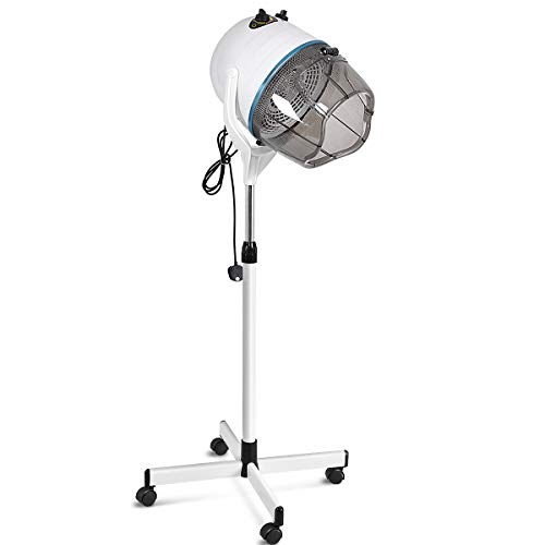 COSTWAY Hair Dryer with Premium ABS Hood, Metal Stand with Universal Wheels, Adjustable Height,...