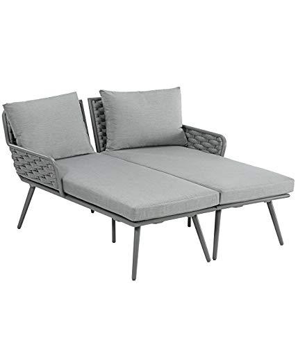 DehnerRelaxliege Porto, 2-Sitzer, ca.160 x 85 x 68 cm,Aluminium/Kunststoff/Textilene, grau
