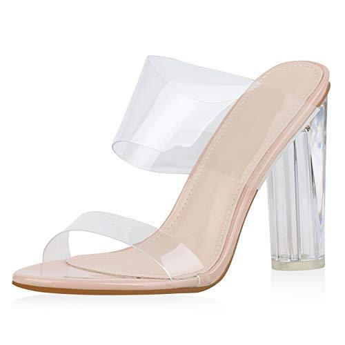 SCARPE VITA Damen Sandalen Pantoletten Transparente Mules Sommer Party Schuhe High Heels Lack Absatzschuhe 176334 Rosa 38