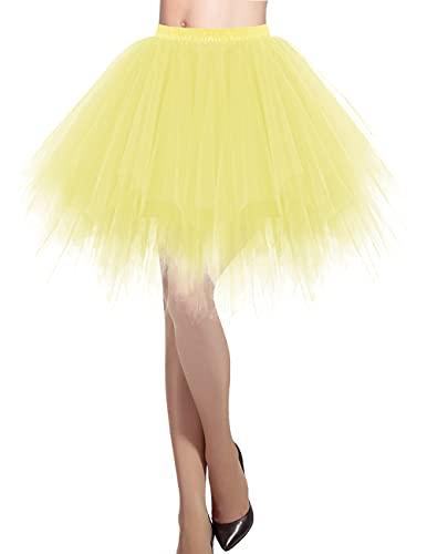 DRESSTELLS Damen Tüllrock 50er Rockabilly Petticoat Tutu Unterrock Kurz Ballett Tanzkleid Ballkleid Abendkleid Gelegenheit Zubehör Yellow S
