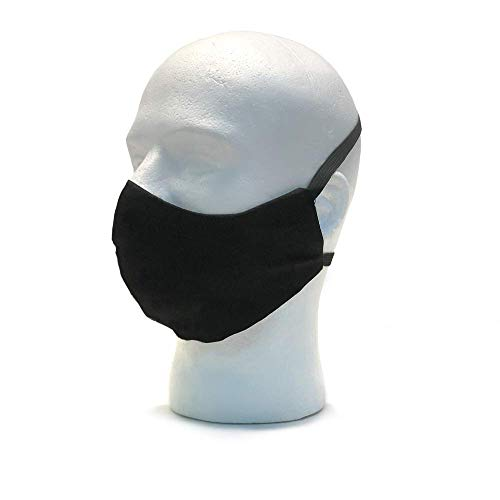 Black Mask Cotton - Unisex Face Masks - Washable with Elastic Cover Full Face - 100% Cotton - Adult - One Size - Made in USA