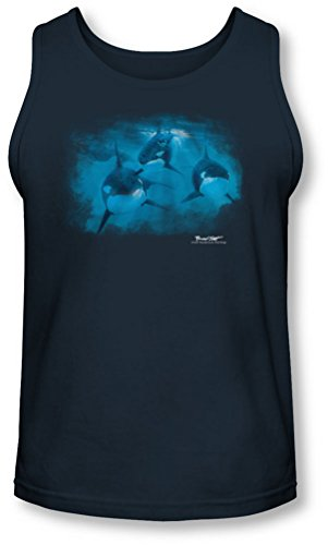 Wildlife - - Pod de Men Of Tank Top Orcas, Large, Navy
