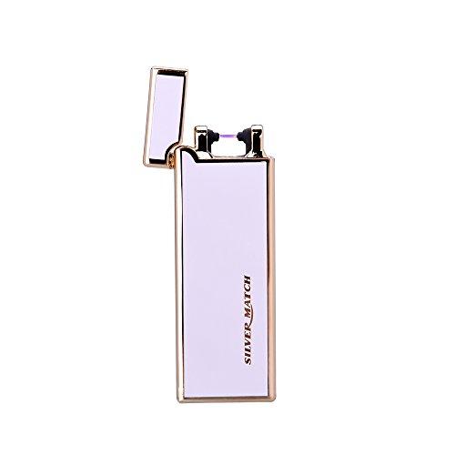 SILVER MATCH - Briquet USB électronique rechargeable design, élégant et ultra-fin avec coffret cadeau - Briquet tempête coupe-vent sans gaz, sans flamme ni liquide - métal argenté - Blanc