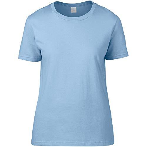 Gildan- Camiseta Premium de algodón para mujer (Pequeña (S)/Azul claro)