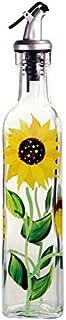 Grant Howard - Aceitera cuadrada pintado a mano con vertedor, diseño de girasoles, 473 ml, color amarillo