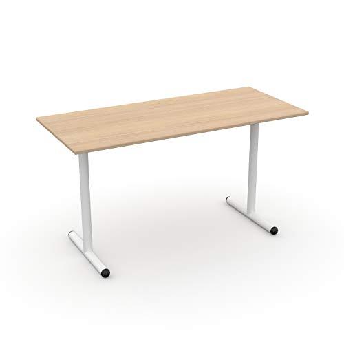 LEVIRA – Mesa de Oficina, Escritorio, Aller - 140 x 74 - Roble Blanco