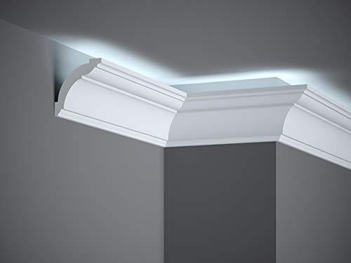 MARDOM DECOR Lichtleiste I MD367 Lightguard® I Stuckleiste Wandleiste Deckenleiste I für indirekte LED Beleuchtung konzipiert I 200 cm x 7,2 cm x 7,2 cm