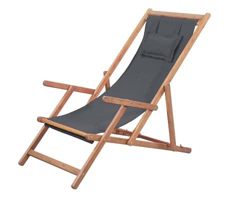 Wakects Tumbona de jardín de madera plegable, tumbona de relax, silla de playa con 3 posiciones ajustables, silla de playa de tela y marco de madera de eucalipto, color gris