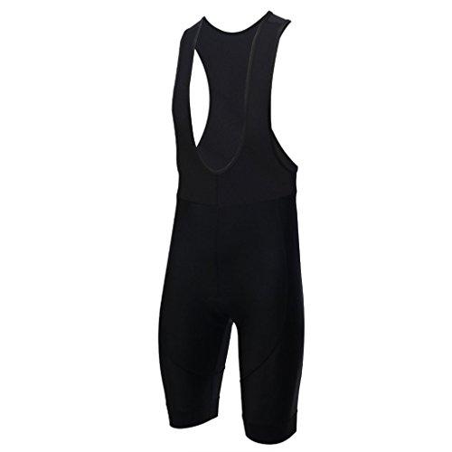 Gwell, pantaloni corti da ciclismo con bretelle, con seduta imbottita, Nero , EU M (Tag L)