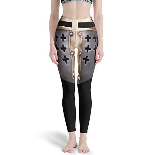 WellWellWell Ritter Templer-Rüstungskrieg Yoga-Hose zum Damen Sport Leggings Tummy Control Trainingshose zum Gym White s