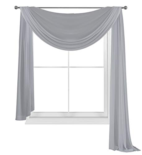 """WPM WORLD PRODUCTS MART Drape/Panels/Scarves/Treatment Beautiful Sheer Voile Window Elegance Curtains Scarf for Bedroom & Kitchen Fully Stitched and Hemmed (Grey, 38"""" Inch x 216"""" Inch)"""