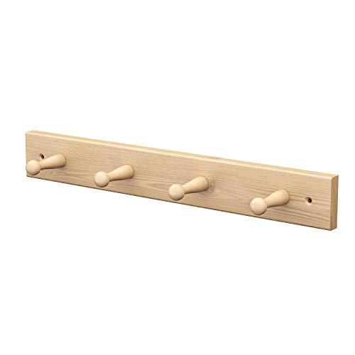Sossai® Wandgarderobe aus Holz   Natürliche Optik - hochwertiges Kiefernholz   HG1   seidenmatt lakiert   Hakenleiste mit 4 Garderobenhaken   Breite: 41 cm