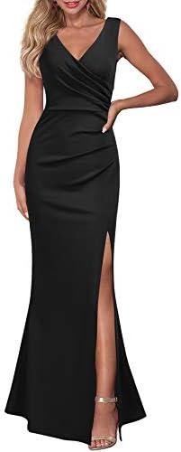 WOOSEA Women Sleeveless V Neck Split Evening Cocktail Long Dress Black product image
