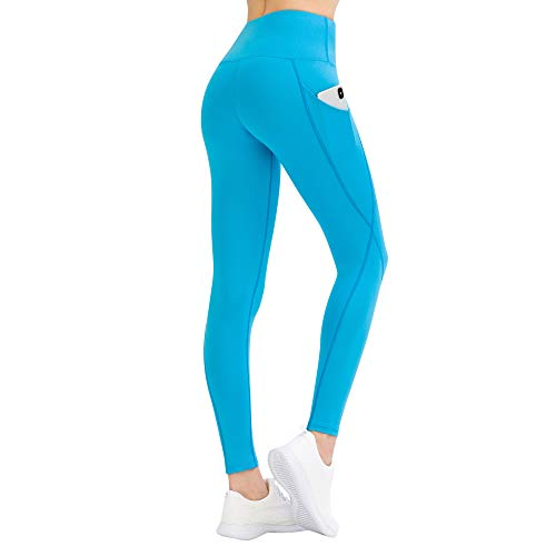 LOS OJOS Yoga Pants for Women – High Waist Tummy Control Workout Leggings with Pockets Turquoise