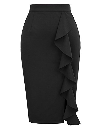 Women's Vintage High Waist Split Ruffle Pencil Skirts Size M Black