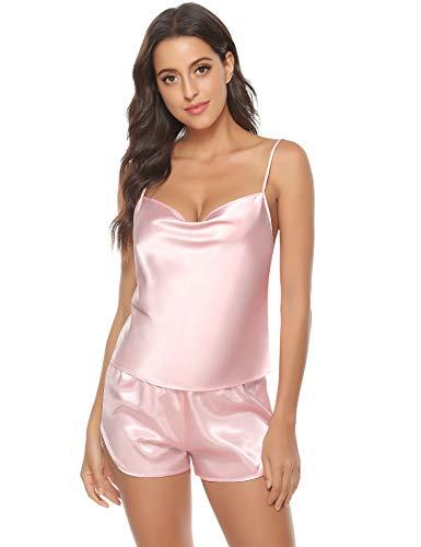 Aiboria Pijama Mujer Seda Verano Cortos 2 Piezas sin Mangas Suave, Ropa Mujer,Pijama Mujer Verano Corto,Regalos para Mujer Adolescentes
