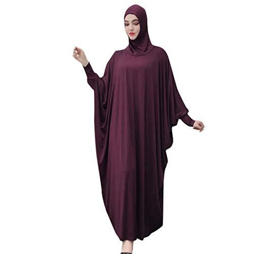 Lazzboy Muslim Frauen Einfarbig Kopfbedeckungen Moschee Fledermaus ärmel Strickjacke Ramadan Kleid Ethnische Roben Damen Sommer Muslimische Kleider Spitze Getrimmt Vorne Abaya Maxi Kaftan(Lila)