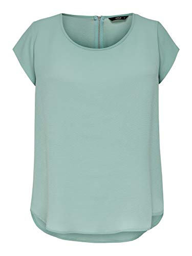 ONLY Womens ONLVIC S/S SOLID TOP NOOS WVN T-Shirt, Blue Surf, 38