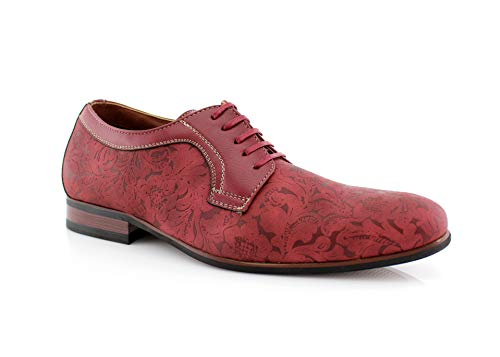 Ferro Aldo Silas MFA19380BL Paisley Embossed Synthetic Leather Luxury Ball Room Dance Party Shoes Red