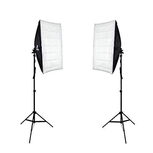 Kit de Iluminação Duplo com Softbox 50x70cm de Soquete E-27 Embutido e Tripé de 2 metros Sou Foto para Estúdio Fotográfico