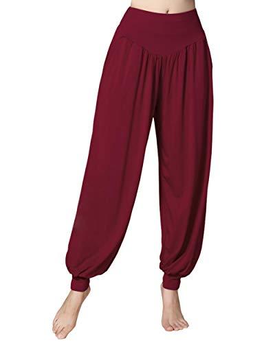 Doaraha Pantalon de Yoga Léger Long, Pantalon Décontracté de Sport de Printemps et d'Été, Pantalon de Pilates Taille Haute, Pantalon Doux de Survêtement, Sarouel Hip Hop Élastique, Bordeaux, XL