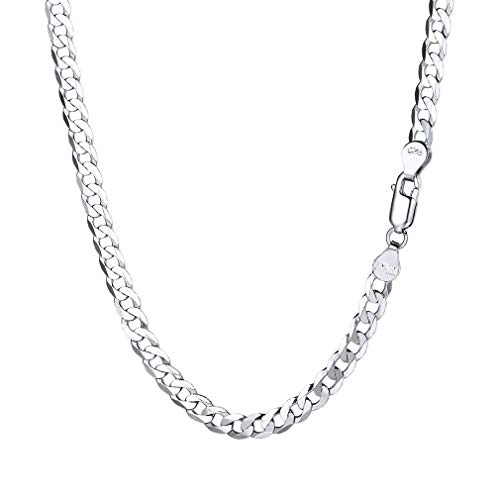 PROSTEEL Mens Silver Curb Chain 45cm Hip Hop Jewelry Choker Necklace