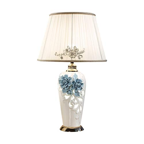 Lámpara de mesa Lámpara de mesa de cerámica Lámpara de tela E27 Grande Hecho a mano TRIMENSIÓN TRARVADO TIRVADO CUERPO CAMISETA Botón Interruptor de la habitación Sala de estar Dormitorio de la cama L