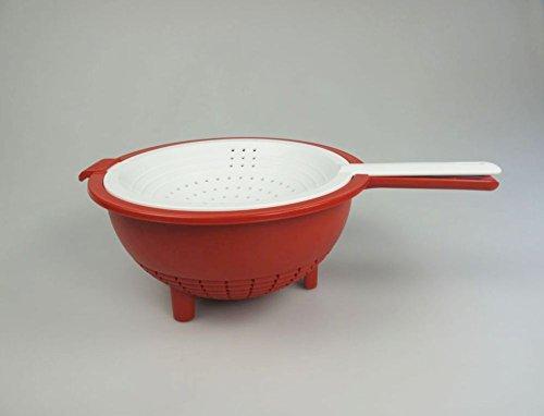 TUPPERWARE Küchenhelfer Sieb Saladin rot-weiß Multi-Sieb Sieb mit Abtropfsieb 30933