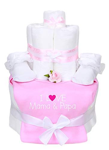 Trend Mama Windeltorte im Geschenkkarton- Mädchen Babysocken mit Schleife/Rüschen + Babybody newborn handbedruckt mit Spruch -I Love Mama & Papa-
