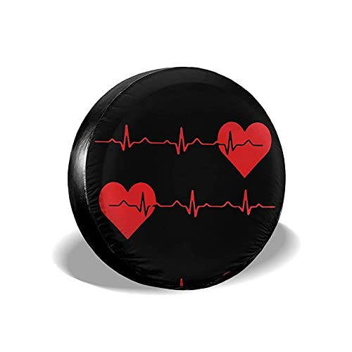 Cubierta De Neumático Enfermera Red Love Heart Heartbeat EKG Negro Impreso Poliéster Universal Rueda de Repuesto Cubierta de neumático Cubiertas de Rueda para Remolque RV SUV Camió