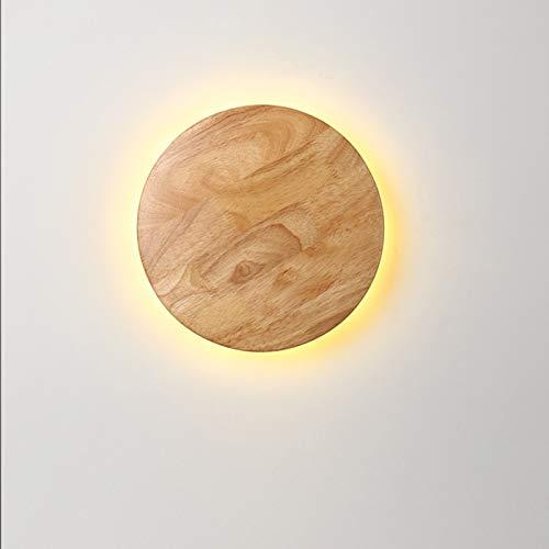 QEGY Lámpara de Pared Dormitorio Infantil LED, Aplique de Pared Madera Redonda Moderna, 3000K Lámpara de Noche Cuidado de Ojos para Sala de Estar Dormitorio Iluminación, 1200lm