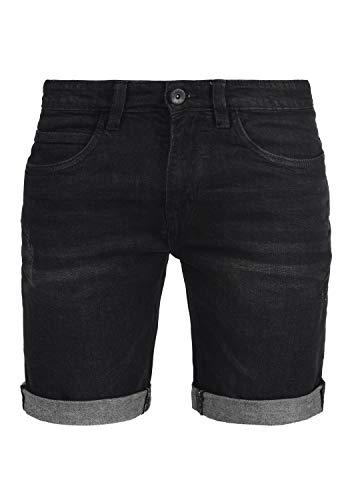 Indicode Quentin Herren Jeans Shorts Kurze Denim Hose Mit Destroyed-Optik Aus Stretch-Material Regular Fit, Größe:L, Farbe:Black (999)