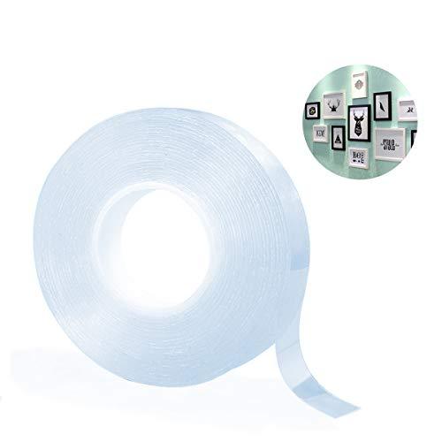 EReach テープ 両面テープ はがせる のり残らず 粘着マットテープ 地震防止 透明 強力粘着 ゲルパッド 繰り返し使える 多用途 屋内 屋外 車輛用 再利用可能 5M (1M(30mm*2mm*1m))