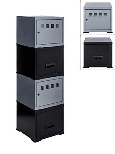 Cube à Porte et Tiroir avec avec Kits de Liaison, Aluminium/Noir, Lot de 4
