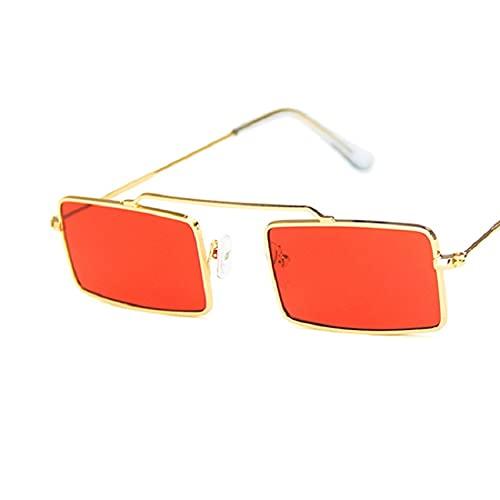 Moda Gafas De Sol Cuadradas Pequeñas para Mujer, Gafas De Sol con Montura De Metal Vintage, Gafas De Diseñador De Marca De Lujo, Gafas Retro, Gafas 4