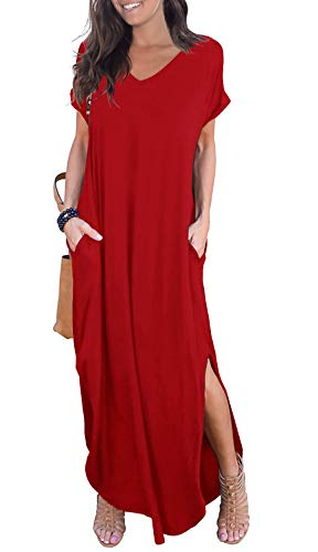 GRECERELLE Womens Casual V Neck Side Split Beach Long Maxi Dress Red Small