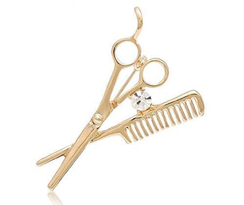 XKMY Broche para suéter, accesorios de moda, tijeras de peluquero, broche para hombre, broche para mujer, broche de esmalte al por mayor lindo broche (color de metal: dorado)