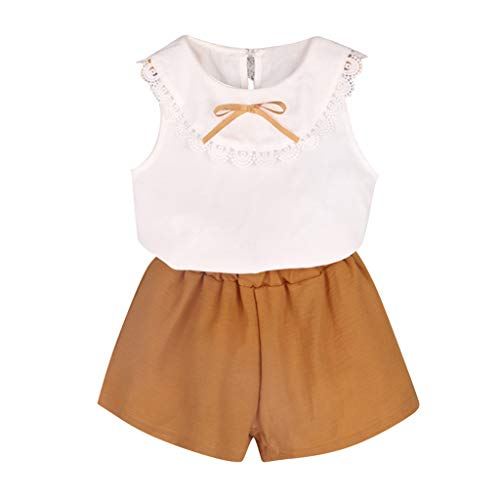 WOCACHI Toddler Kids Baby Girls Outfits Clothes Doll Collar Bowknot Shirt Vest+Shorts Set Newborn Mom Daughter Son Coverall Layette Sets Best Gift Multi Adorable Dress-up Outfits White