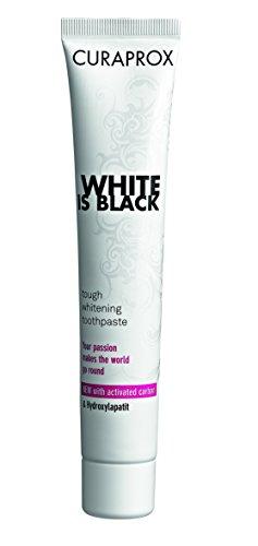 CURAPROX White is Black Zahnpasta für weiße Zähne, Zahnaufhellung mit schwarzer Zahnpasta aus Aktivkohle der Kokosnuss, whitening toothpaste, 1 x 90 ml