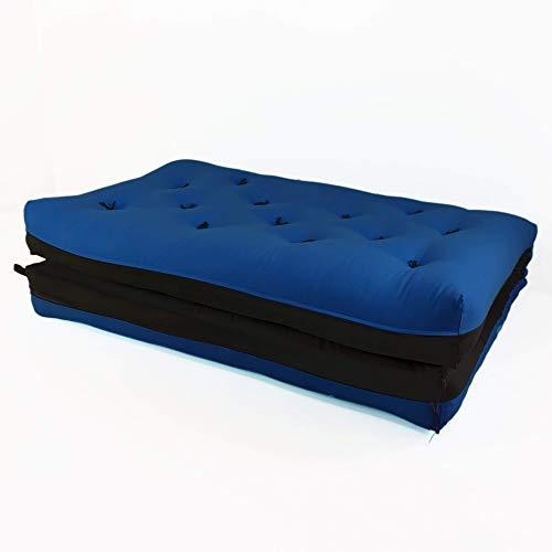 Futon japonês casal dobrável sofa cama azul royal/preto