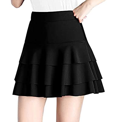 Afibi Stretchy Flared Ruffle Layered Mini Skater Skirts for Women